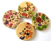 SALE-24 Wood buttons, 4 kinds, beautiful colorful pictures ornaments, 30mm