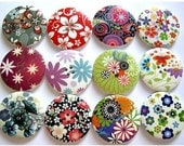 12 Buttons, wood  buttons, 40mm, 12 kinds, colorful flowers and ornaments in assorted colors