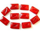 10 Buttons, red,  rectangle, art deco, antique, vintage, plastic buttons, can be use on 2 sides