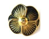 Vintage button black flower enamel metal gold color base rare 33mm