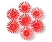 7 beads, flowers, orange, vintage, 19mm, flexible plastic, RARE