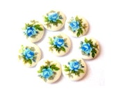 8 Vintage glass porcelain cabochon  made in Japan unique flowers ornament 7mm