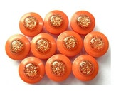 10 Vintage plastic buttons, orange with glitters, can be use as beads for button jewelry, 11mm