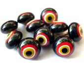 6 Vintage glass buttons black  with white red yellow circles metal shank 10mm