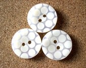 6 buttons, Jewel plastic trim buttons white with white dots 25mm