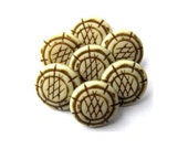10 Vintage ethnic buttons plastic 15mm shank buttons