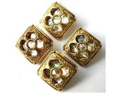 6 Vintage buttons square gold color plastic inside flower design with rhinestone 19mm