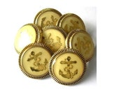 6 Vintage buttons, gold color anchor picture on cream to yellow  21mm