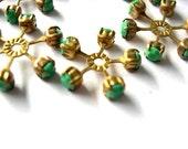 2 SWAROVSKI CRYSTAL beads, vintage,  flower shape brass setting with green crystal- RARE