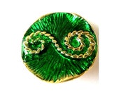 Vintage metal button, gold color with green enamel beautiful ornament, 29mm