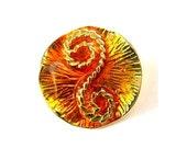 Vintage metal button, gold color with orange enamel, beautiful ornament, 29mm