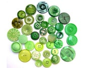 36 Buttons, antique and vintage plastic green buttons, assorted shapes and shades, can be use as beads for button jewelry
