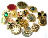 18 Vintage metal flower button, 18 designs in assorted colors and shapes