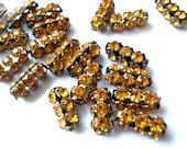 2 Vintage SWAROVSKI  beads yellow rhinestones crystals in metal setting genuine 1100 made in Austria