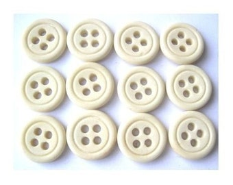 10 Vintage glass  buttons, can be use as a bead, 16mm