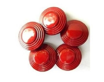 6 Vintage plastic buttons, beautiful red with circles pattern, 28mm, proper for button jewelry