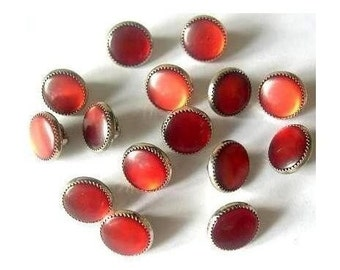 10 Vintage buttons, metal and plastic buttons, deep orange color plastic with silver color metal, great for buttons jewelry
