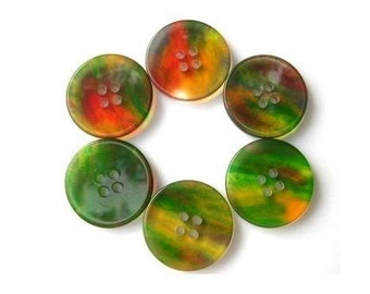 6 Vintage plastic buttons, green with unique assorted colors inside, 23mm, can be use as beads for button jewelry