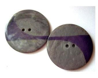6 Antique vintage buttons art deco plastic silver color with purple rare, huge, 38mm