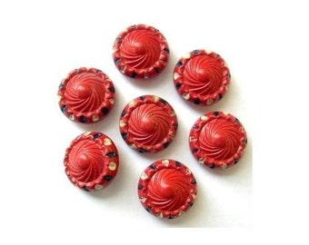 Vintage buttons, 6 plastic buttons, red with dots ornament, can be use as beads for button jewelry, 15mm