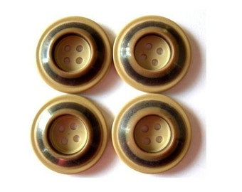 Vintage buttons, 6 plastic buttons, brown shades, circles pattern, 25mm