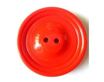 Vintage buttons, 2 plastic buttons, xl, red to orange, 37mm, 5mm thick