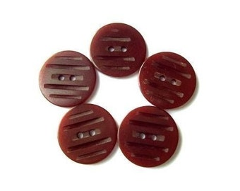 6 Buttons, bakelite plastic vintage buttons, collectibles, brown, carved