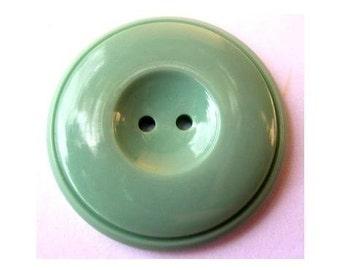 6 Vintage buttons unique green plastic  large thick 33mm