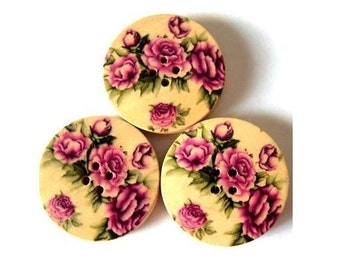 6 Wood  buttons, roses flowers ornament, 30mm, for button jewelry, scrapbooking, bags, crafts