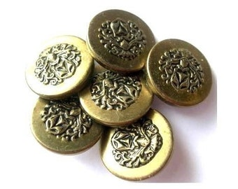 Vintage, 6 etched metal buttons, unique, great for buttons jewelry