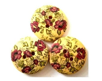 6 Wood  buttons,  flowers ornament, 23mm, for scrapbooking, bags, jewelry, crafts