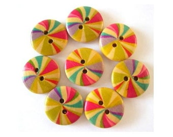8 Wood buttons, flowers colorful ornament, 18mm