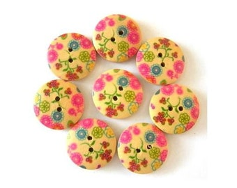 8 wood buttons, colorful flowers ornament 18mm