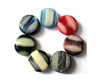 7 Vintage buttons 7 colors colors 26mm