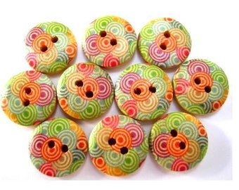 15 Buttons, wood, wooden, colorful ornament, 15mm, proper for button jewelry