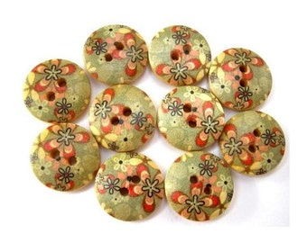 10 Buttons, wood, wooden, grey with orange flowers, 15mm, proper for button jewelry