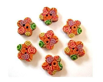 10 Buttons, flower shape, wood, ornaments, for button jewelry, scrapbooking, crafts