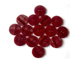 10 Vintage antique buttons dark red plastic 18mm
