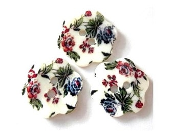 3 Shell buttons, might be vintage, flower shape and ornament, colorfull design for jewelry
