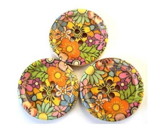 6 Wood buttons, 30mm, black with colorful flowers, 30mm, for scrapbppking, jewelry, crafts