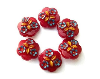 6 Buttons, flower shape, flowers ornament, dark red,  plastic, antique vintage, rare, 21mm