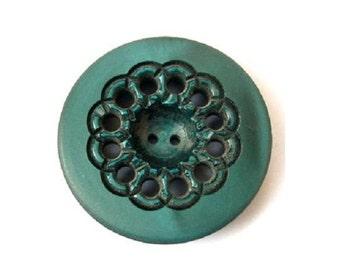 Antique vintage flower button, plastic, 28mm, unique green, 34mm