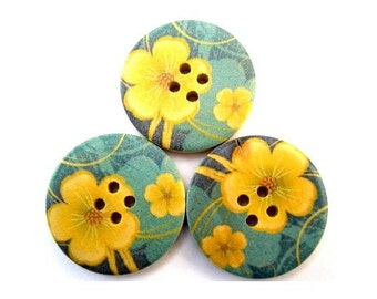 6 Wood buttons, 30mm, yellow flower on blue  shades, for scrapbppking, jewelry, crafts