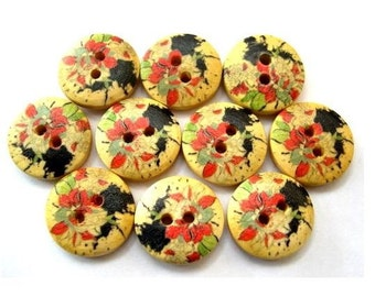 10 Buttons, wood, wooden,  beautiful artistic flowers ornament, 15mm, proper for button jewelry