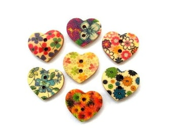 42 Buttons, wood heart shape,set of 7 kinds flowers ornament, for button jewelry