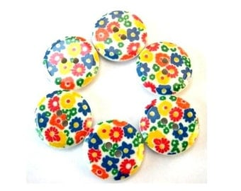 6 Buttons, vintage, flowers ornament,plastic, for button jewelry, 19mm