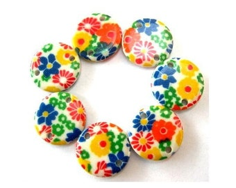 20 Vintage connector beads flowers ornament lucite plastic 10mm