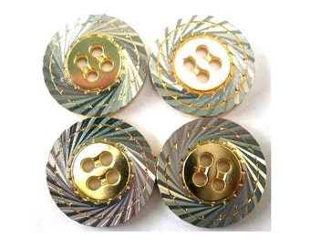 6 Buttons, vintage, metal, gold and silver colors, great for buttons jewelry, 20mm