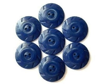 10 Vintage buttons, blue plastic with ornament, 27mm, can be use as beads
