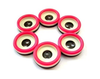 6 Vintage buttons, plastic buttons, 3 layers pattern, pink, brown, white, 15mm